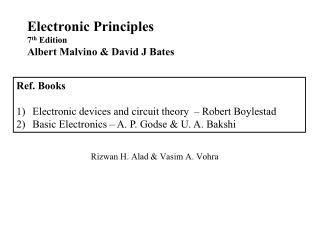 Electronic Principles 7 th  Edition Albert Malvino & David J Bates