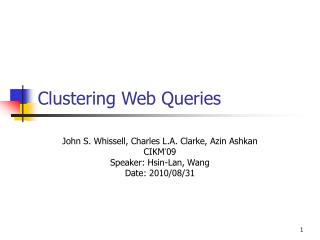 Clustering Web Queries