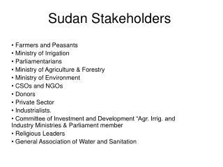 Sudan Stakeholders