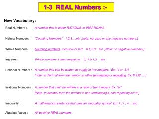 1-3  REAL Numbers :-