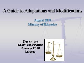 Elementary Staff Information January 2010 Langley