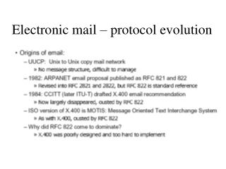 Electronic mail – protocol evolution