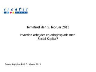 Tematræf den 5. februar 2013 Hvordan  arbejder en arbejdsplads med Social Kapital?