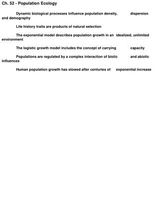Ch. 52 - Population Ecology