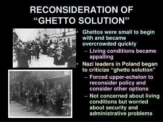 RECONSIDERATION OF �GHETTO SOLUTION�