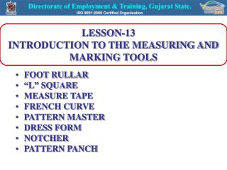 LESSON-13     INTRODUCTION TO THE MEASURING AND MARKING TOOLS