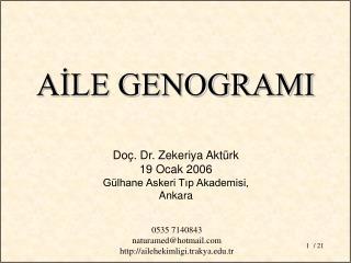 Doç. Dr. Zekeriya Aktürk 19 Ocak 2006 Gülhane Askeri Tıp Akademisi, Ankara