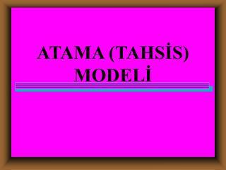 ATAMA (TAHSİS) MODELİ