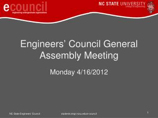 Engineers� Council General Assembly Meeting