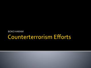 Counterterrorism Efforts