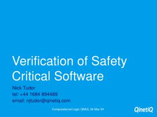 Verification of Safety Critical Software