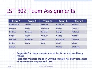 IST 302 Team Assignments