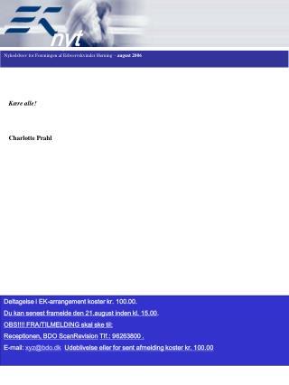 Nyhedsbrev for Foreningen af Erhvervskvinder Herning –  august 2006