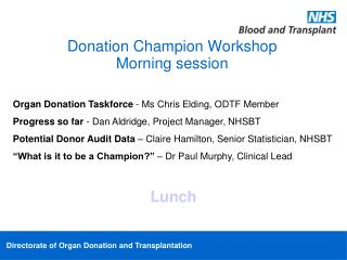 Donation Champion Workshop Morning session