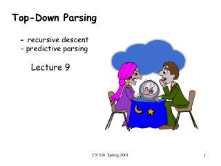 Top-Down Parsing -  recursive descent - predictive parsing
