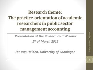 Presentation at the Politecnico di Milano  1 st  of March 2012