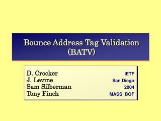 Bounce Address Tag Validation (BATV)
