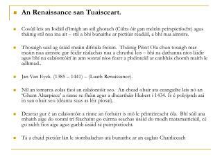 An Renaissance san Tuaisceart.
