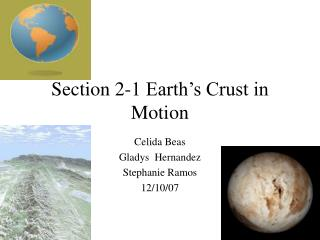 Section 2-1 Earth's Crust in Motion