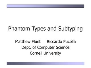Phantom Types and Subtyping