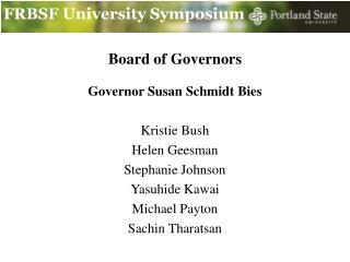 FRBSF University Symposium
