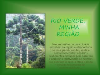 RIO VERDE,  MINHA REGIÃO