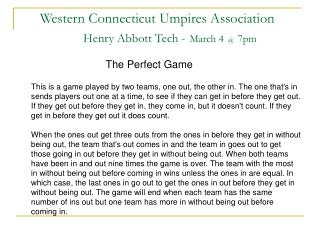 Western Connecticut Umpires Association Henry Abbott Tech - March 4 @ 7pm