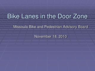 Bike Lanes in the Door Zone