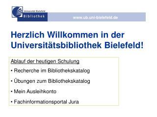Herzlich Willkommen in der Universitätsbibliothek Bielefeld!