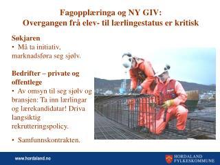 Fagopplæringa og NY GIV:  Overgangen frå elev- til lærlingestatus er kritisk