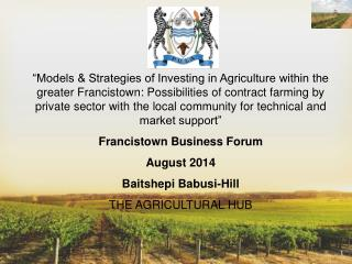 Overview of Agric Sector in Botswana