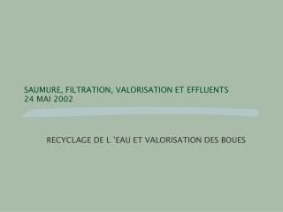 SAUMURE, FILTRATION, VALORISATION ET EFFLUENTS 24 MAI 2002