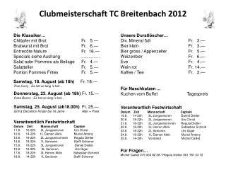 Clubmeisterschaft TC Breitenbach 2012