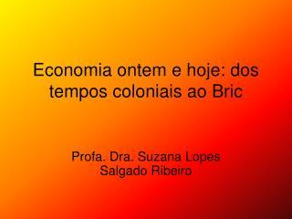 Economia ontem e hoje: dos tempos coloniais ao Bric