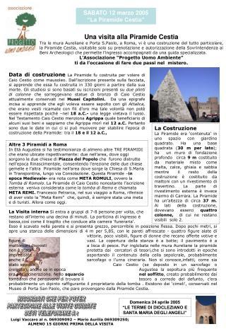 """SABATO 12 marzo 2005 """"La Piramide Cestia"""""""