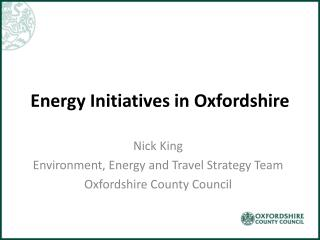Energy Initiatives in  Oxfordshire