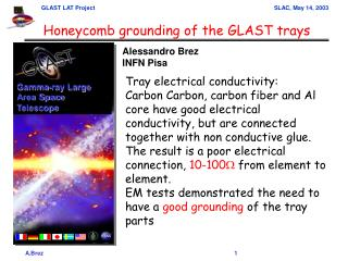 Honeycomb grounding of the GLAST trays