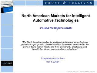 North American Markets for Intelligent Automotive Technologies  Poised for Rapid Growth