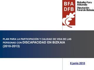 PLAN PARA LA PARTICIPACIÓN Y CALIDAD DE VIDA DE LAS PERSONAS CON  DISCAPACIDAD EN BIZKAIA