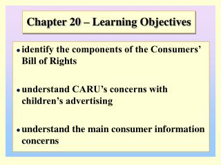 Chapter 20 – Learning Objectives