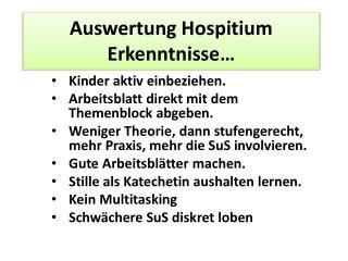 Auswertung  Hospitium  Erkenntnisse…