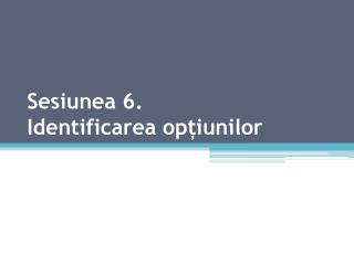 Sesiunea 6. Identificarea opțiunilor