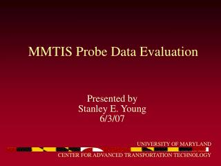 MMTIS Probe Data Evaluation
