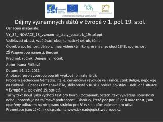 Dějiny významných států v Evropě v 1. pol. 19. stol.