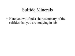 Sulfide Minerals