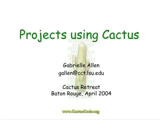 Projects using Cactus