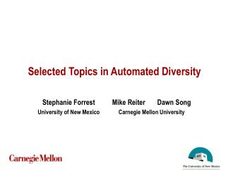 Selected Topics in Automated Diversity