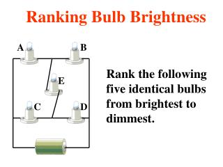 Rank the following  five identical bulbs from brightest to dimmest.