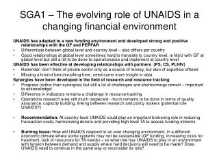 SGA1 – The evolving role of UNAIDS in a changing financial environment