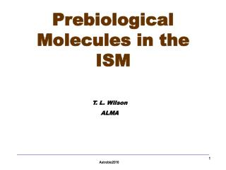 Prebiological Molecules in the ISM